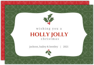 Green Holly Berries Christmas Card