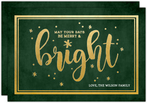 Chalkboard Merry and Bright Christmas Card