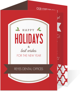 Red and Brown Frame Dental Office Christmas Card