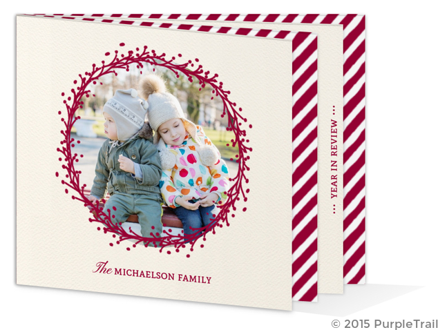 Formal Red Wreath Booklet Christmas Photo Card
