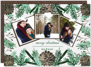 Glam Pinecone Christmas Photo Card