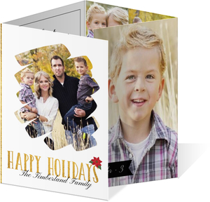 Simple and Elegant Golden Holiday Photo Card
