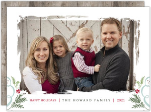 Modern Rustic Painted Family Christmas Photo Card