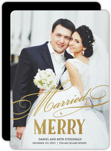 Faux Gold Foil Married and Merry Typography Wedding Announcement