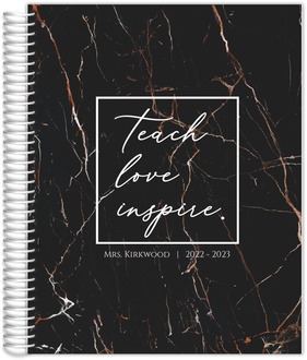 Faux Copper Black Marble Teacher Planner