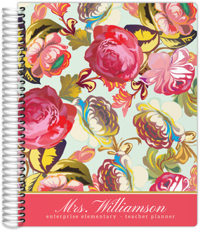 Pink Rose Garden Teacher Planner