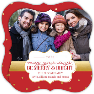 Bright and Merry Gold Dots Photo Christmas Card