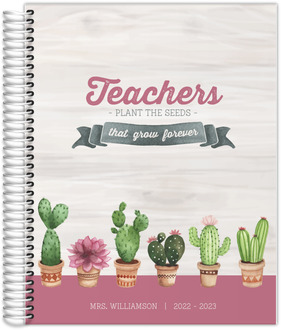 Watercolor Cactus Custom Teacher Planner