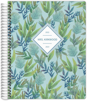 Whimsical Blue Foliage Pattern Teacher Planner
