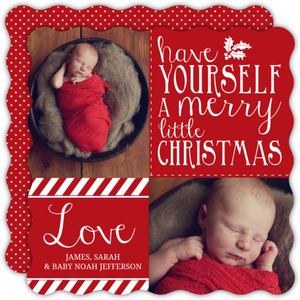 Ruby Red and White Lettering Christmas Photo Card