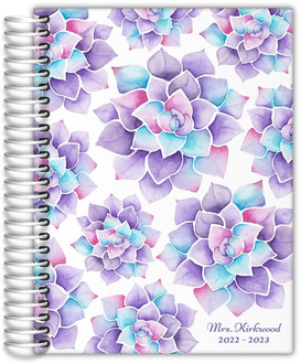 Lilac Watercolor Succulent Teacher Planner