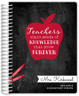 Red Apple Quote Small Custom Teacher Planner