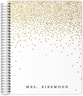 Golden Faux Glitter Confetti Teacher Planner