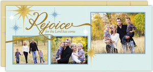 Faux Foil Rejoice Christmas Photo Card