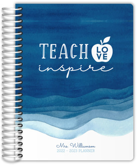 Blue Watercolor Stain Custom Teacher Planner