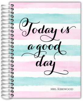 Watercolor Stripes Good Day Teacher Planner