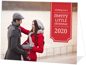 Elegant Red Banner Christmas Photo Card