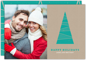 Classic Turquoise Tree Christmas Photo Card