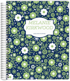 Green & White Floral Pattern Custom Mom Planner