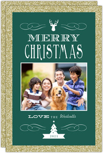 Emerald Green and Gold Glitter Christmas Photo Card