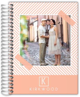 Peach Chevron Photo Family Planner