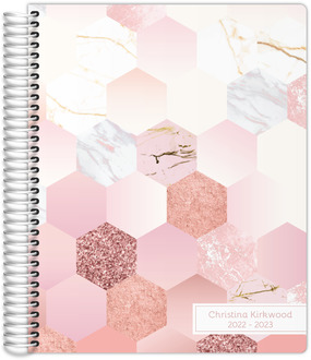Marble Glitter Hexagon Pattern Mom Planner
