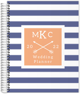 Modern Stripes Monogram Custom Wedding Planner