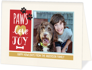 Paws Love Joy Holiday Photo Card