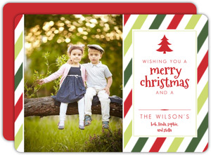 Red And Green Stripes Christmas Photo Cards