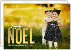 Elegant Gold Foil Noel Christmas Photo Card
