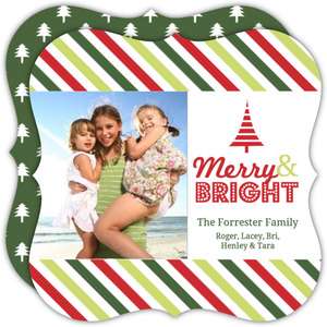 Colorful Stripes Christmas Photo Card