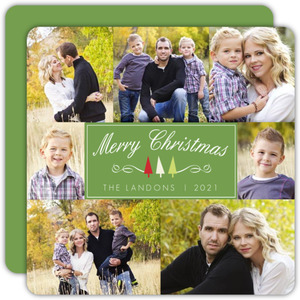 Green Whimsical Trees Christmas Photo Card