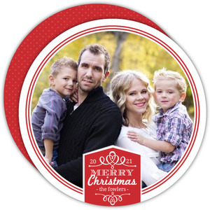 Red Decorative Banner Christmas Photo Card