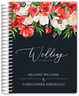 Watercolor Red Floral Decor Wedding Planner
