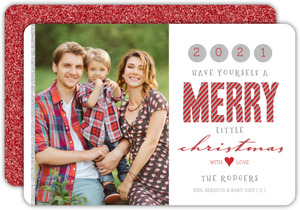 Fancy Glitter Merry Christmas Photo Card