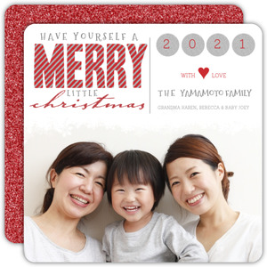 Red Glitter Square Christmas Photo Card