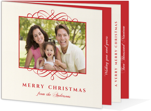Red and Cream Christmas Photo Booklet Card