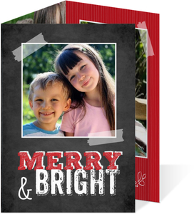 Picture Perfect Red Striped Christmas Photo Card
