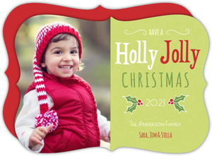 Green Holly Christmas Photo Card