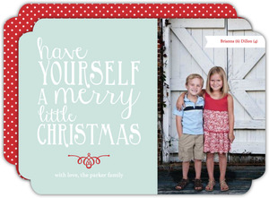 Winter Blue Whimsical Lettering Christmas Photo Card