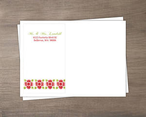 Red And Green Watercolor Floral Holiday Wedding Envelope