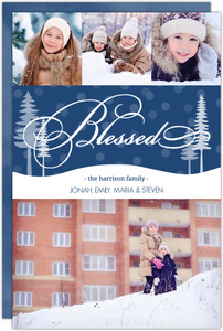 Blue Blessed Holiday Photo Christmas Card