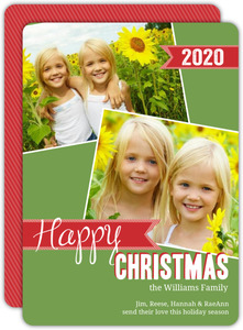 Red Striped Washi Tape Christmas Photo Card