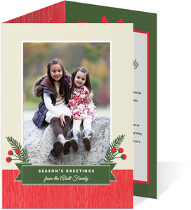 Holly Berries Christmas Photo Card