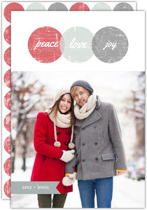 Grunge Modern Circles Christmas Photo Card