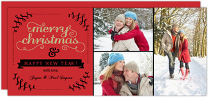 Fancy Red Black Glitter Christmas Photo Card