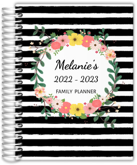 Black And White Stripes Floral Custom Mom Planner