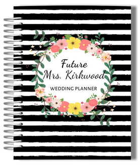 Black And White Stripes Floral Wedding Planner