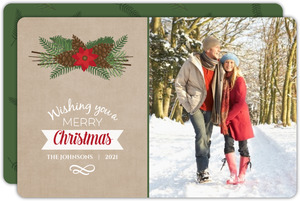 Brown Green Christmas Photo Card