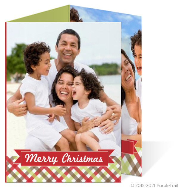 Red and Green Gingham Christmas Photo Card